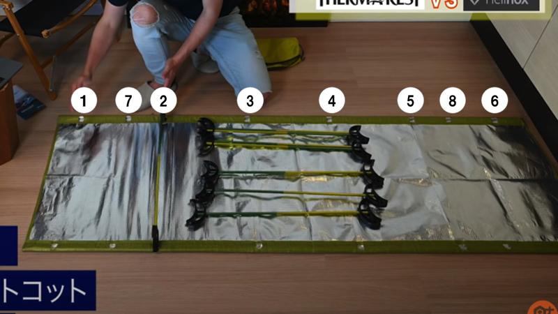 サーマレストコットの足の取り付け方の写真