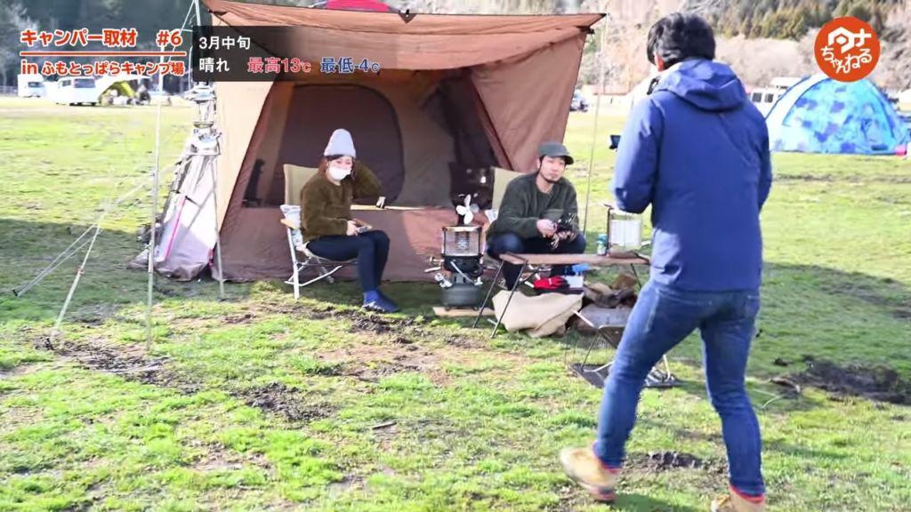 ふもとっぱらキャンプ場。スノーピークファンのご夫婦。
